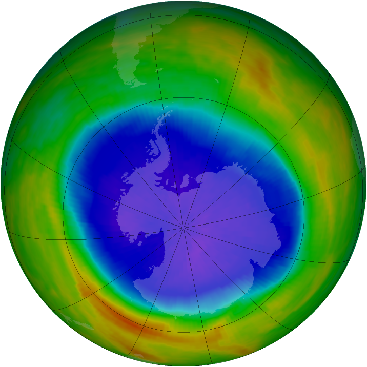 Antarctic ozone map for 01 October 1989
